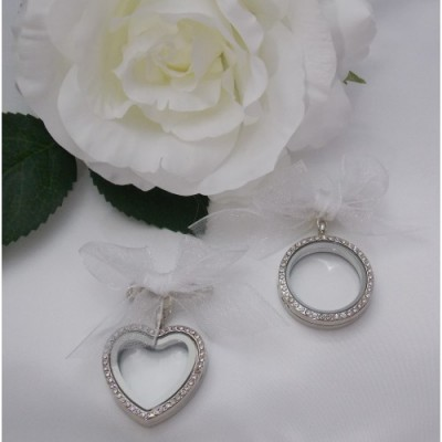 Diamante Wedding Memorial Photo Locket Charm