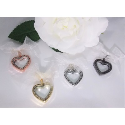Vintage Heart Memorial Photo Locket Charm
