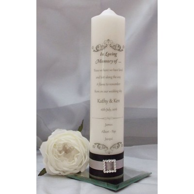 Traditional Black, White & Silver Wedding Remembrance Candle