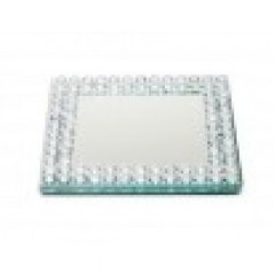 9cm Square Mirror Candle Plate With Diamante Edge
